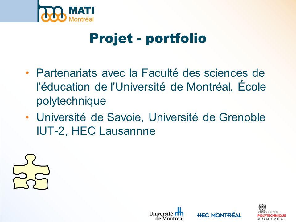 Projet - portfolio Partenariats avec la Faculté des sciences de l'éducation de l'Université de Montréal, École polytechnique.
