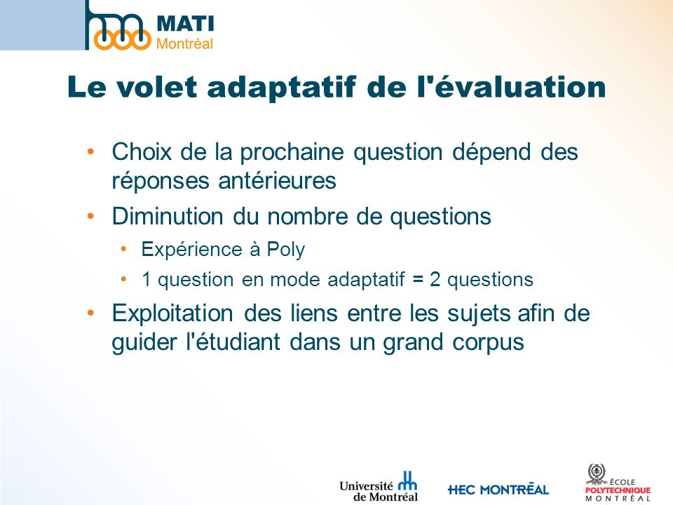 Le volet adaptatif de l évaluation