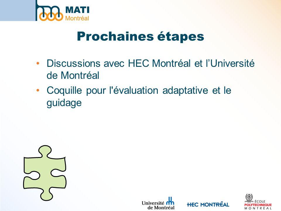 Prochaines étapes Discussions avec HEC Montréal et l'Université de Montréal. Coquille pour l évaluation adaptative et le guidage.