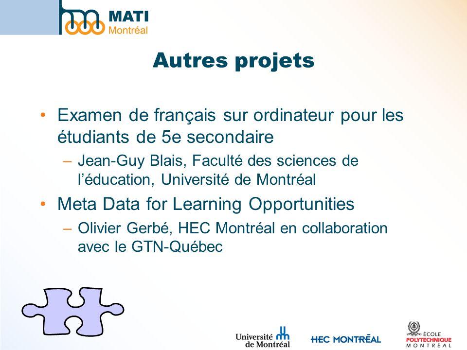 Autres projets Examen de français sur ordinateur pour les étudiants de 5e secondaire.