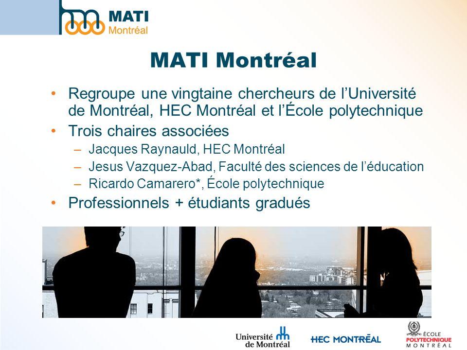 MATI Montréal Regroupe une vingtaine chercheurs de l'Université de Montréal, HEC Montréal et l'École polytechnique.