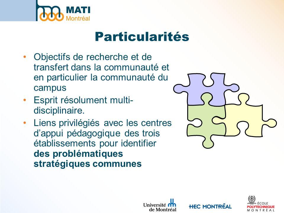 Particularités Objectifs de recherche et de transfert dans la communauté et en particulier la communauté du campus.