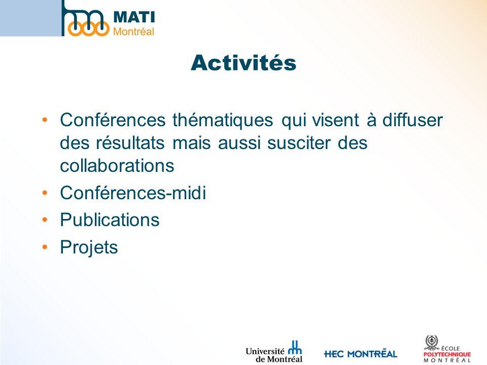 Activités Conférences thématiques qui visent à diffuser des résultats mais aussi susciter des collaborations.