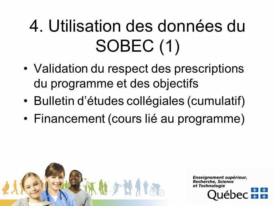 4. Utilisation des données du SOBEC (1)