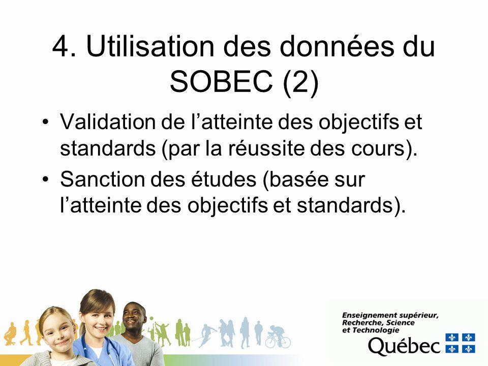 4. Utilisation des données du SOBEC (2)