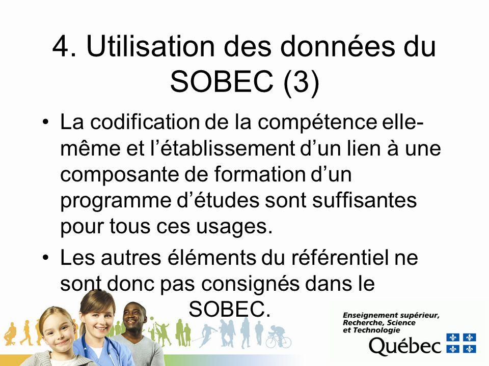 4. Utilisation des données du SOBEC (3)