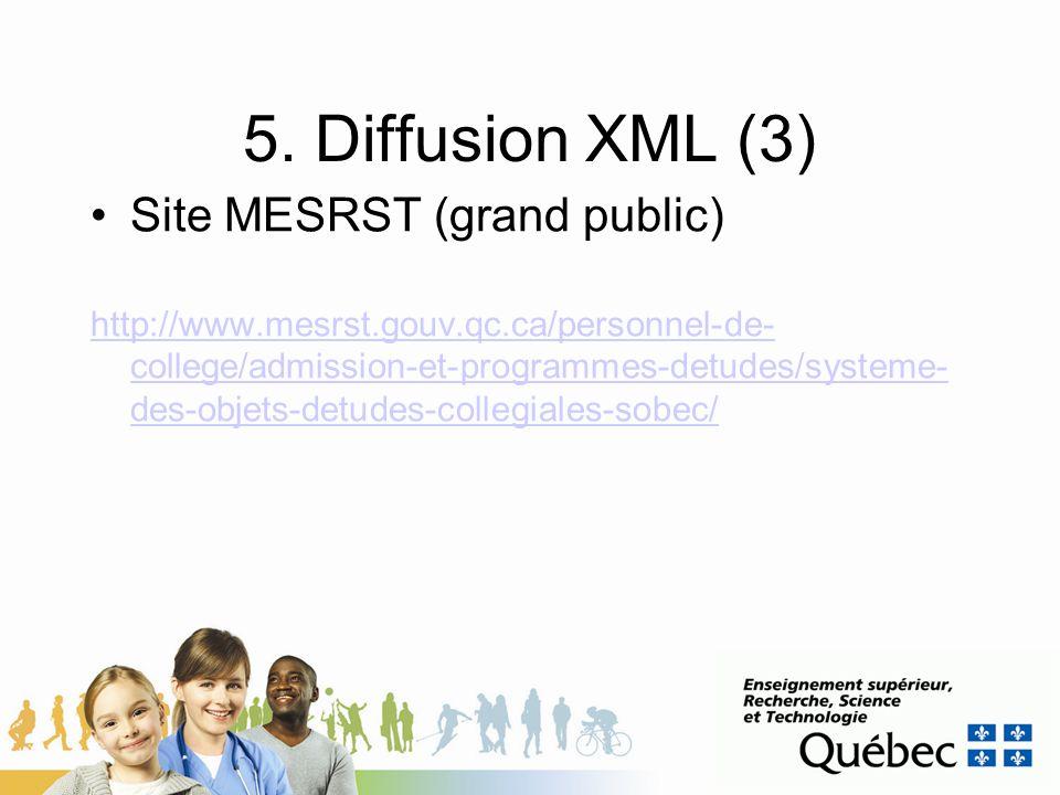 5. Diffusion XML (3) Site MESRST (grand public)