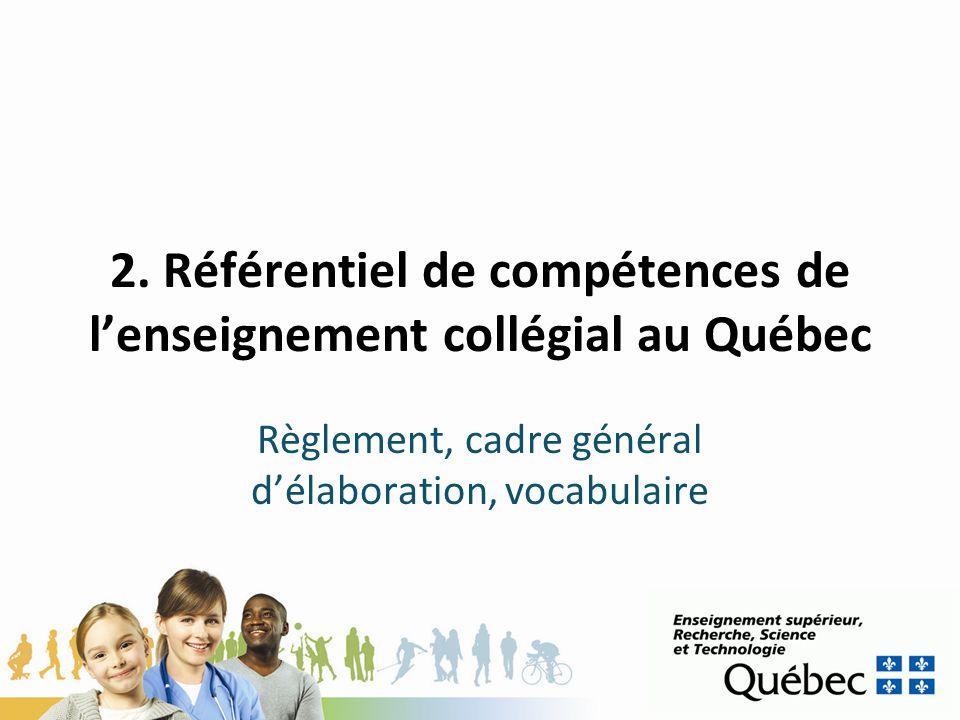 2. Référentiel de compétences de l'enseignement collégial au Québec