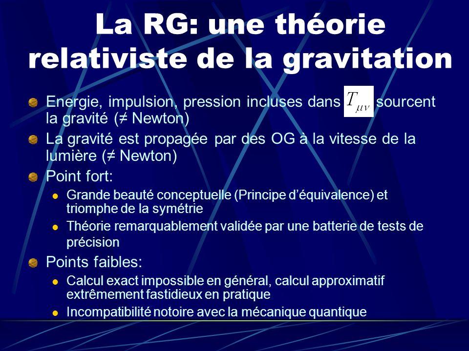 La RG: une théorie relativiste de la gravitation
