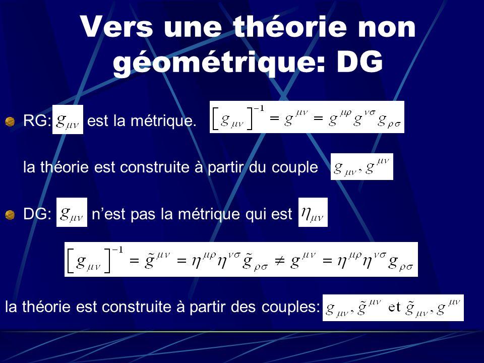 Vers une théorie non géométrique: DG
