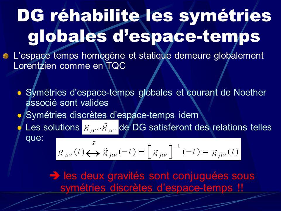 DG réhabilite les symétries globales d'espace-temps