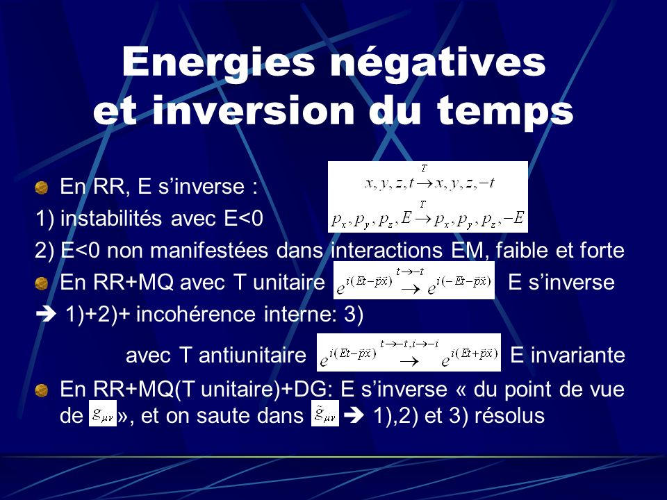 Energies négatives et inversion du temps