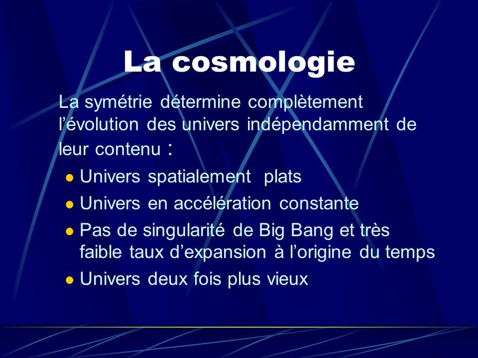 La cosmologieLa symétrie détermine complètement l'évolution des univers indépendamment de leur contenu :