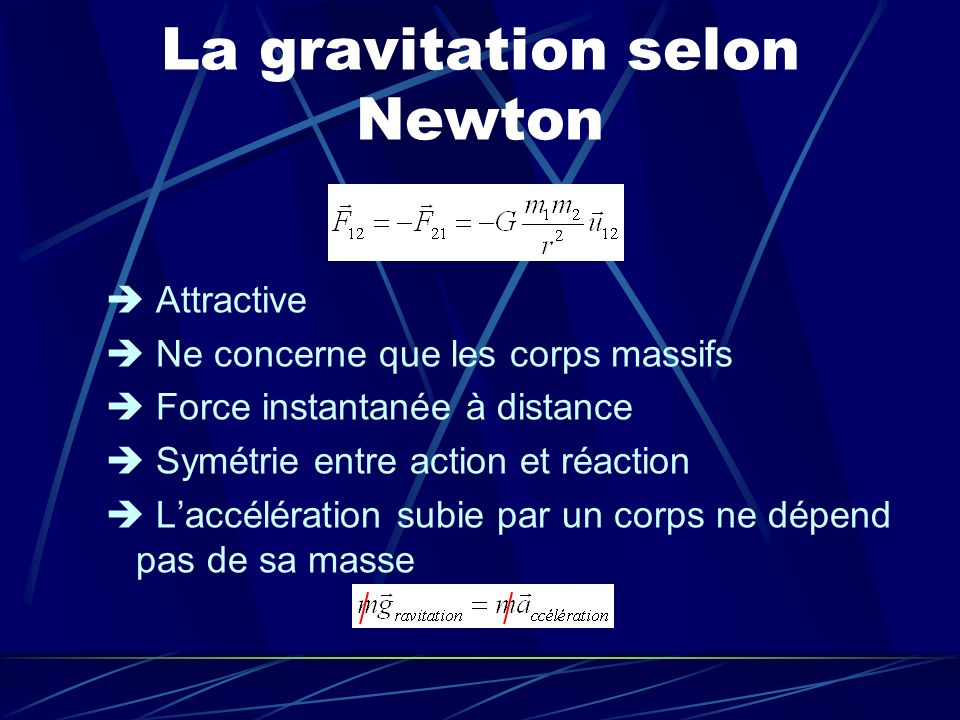 La gravitation selon Newton