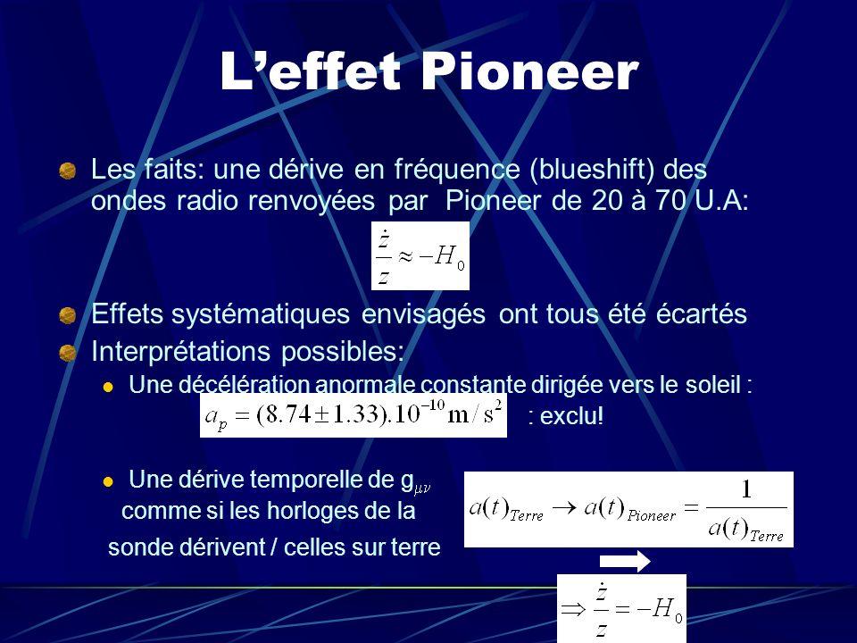 L'effet PioneerLes faits: une dérive en fréquence (blueshift) des ondes radio renvoyées par Pioneer de 20 à 70 U.A: