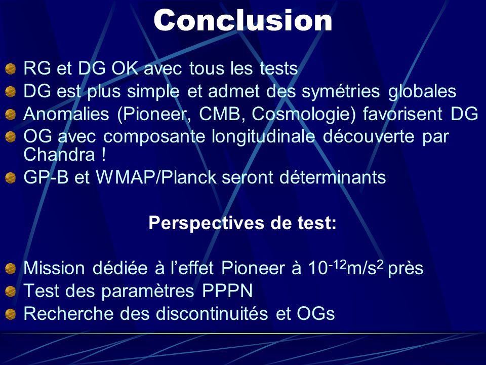 Conclusion RG et DG OK avec tous les tests