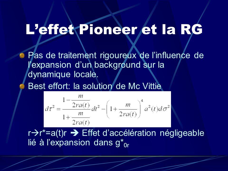 L'effet Pioneer et la RG