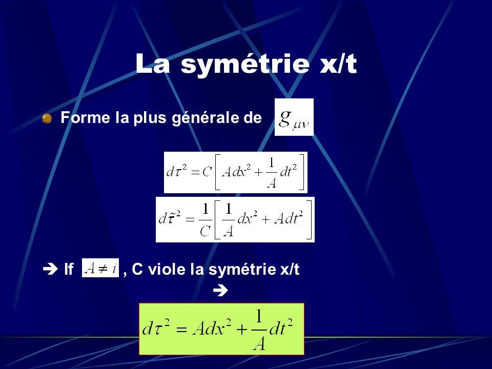 La symétrie x/t Forme la plus générale de