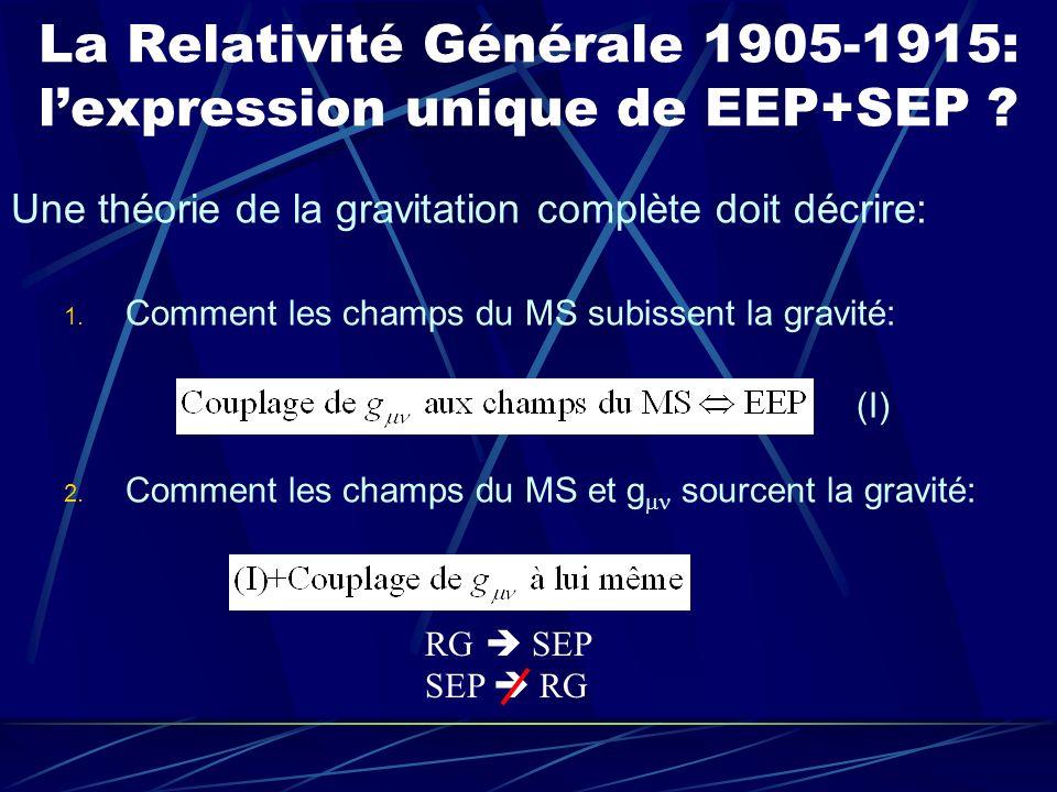 La Relativité Générale 1905-1915: l'expression unique de EEP+SEP