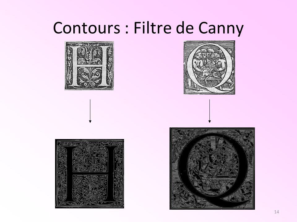 Contours : Filtre de Canny