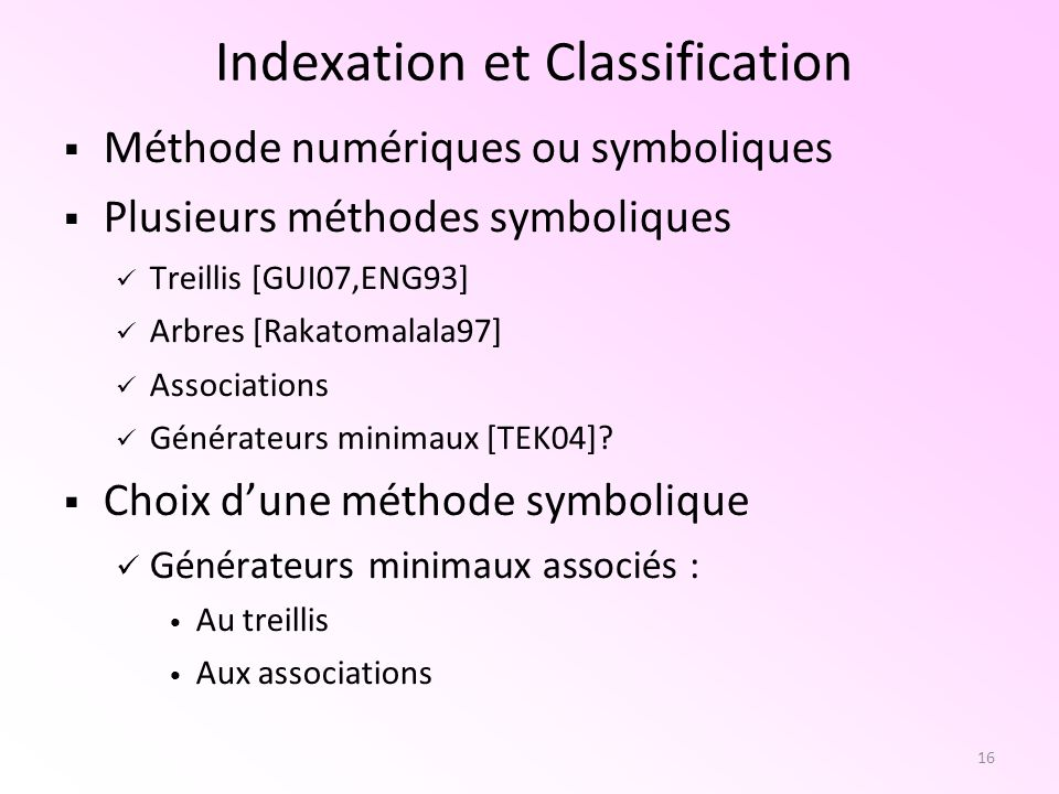 Indexation et Classification