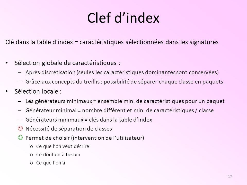 Clef d'index Clé dans la table d'index = caractéristiques sélectionnées dans les signatures. Sélection globale de caractéristiques :