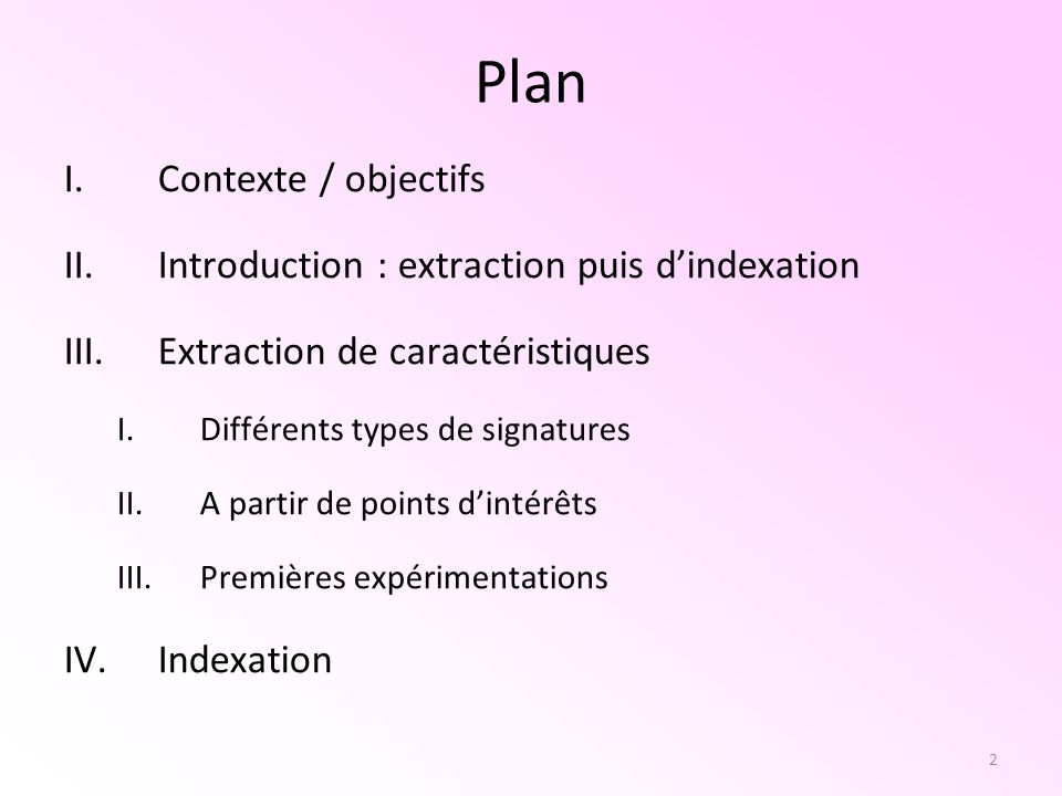Plan Contexte / objectifs Introduction : extraction puis d'indexation
