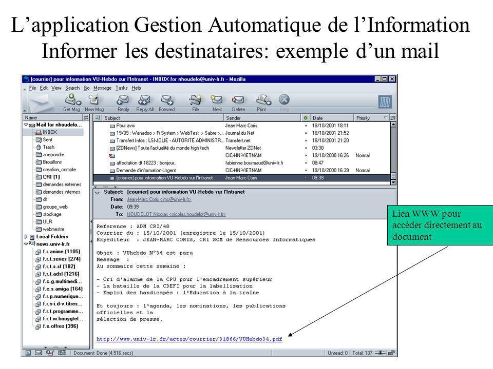 L'application Gestion Automatique de l'Information Informer les destinataires: exemple d'un mail