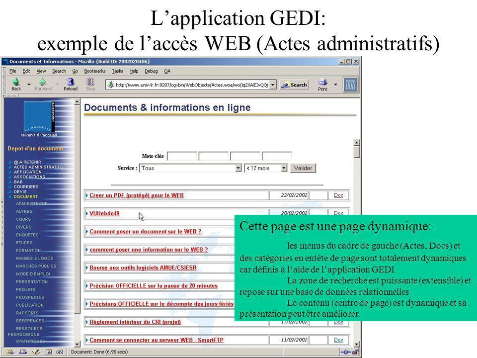 L'application GEDI: exemple de l'accès WEB (Actes administratifs)