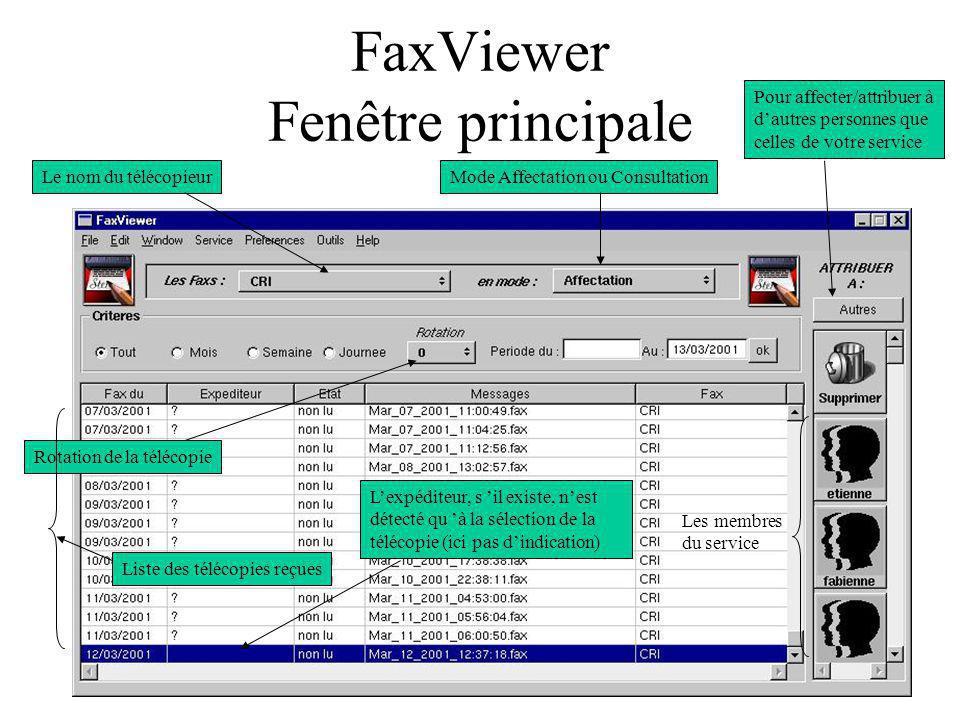 FaxViewer Fenêtre principale