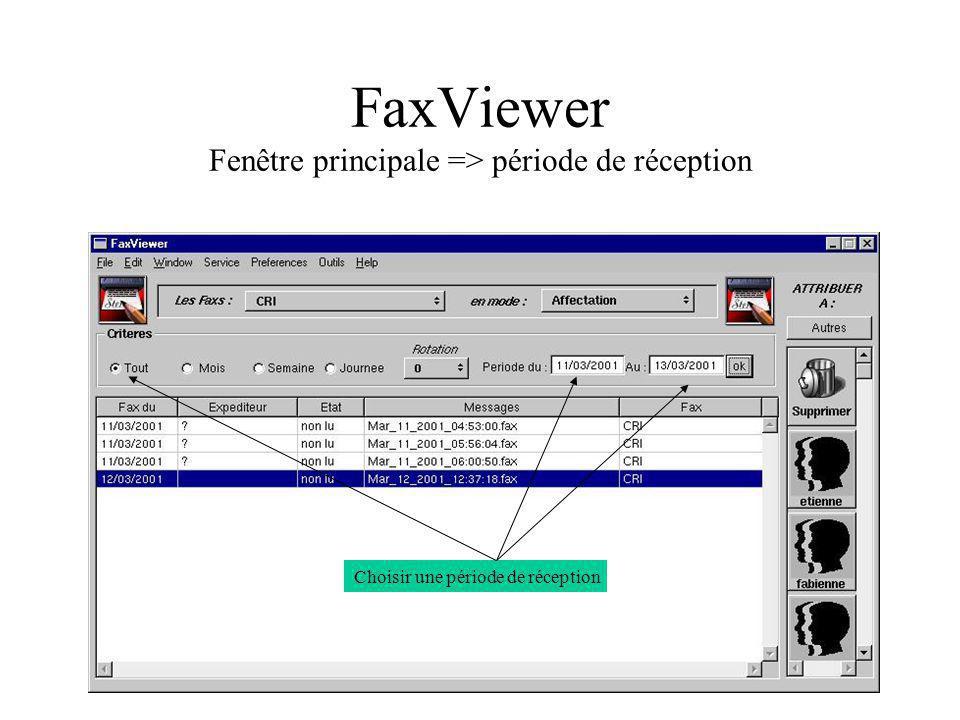 FaxViewer Fenêtre principale => période de réception
