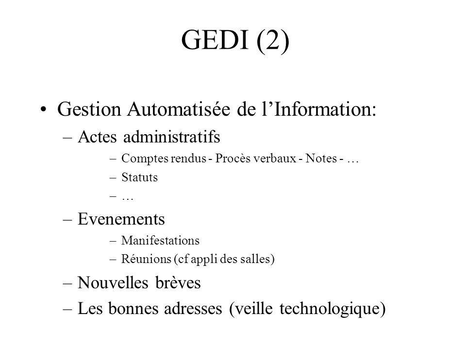 GEDI (2) Gestion Automatisée de l'Information: Actes administratifs