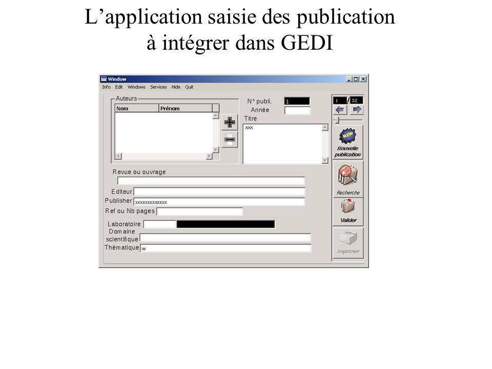 L'application saisie des publication à intégrer dans GEDI