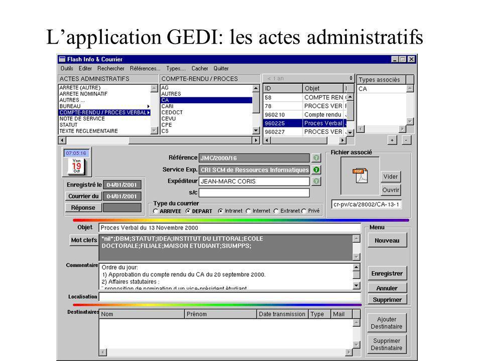 L'application GEDI: les actes administratifs