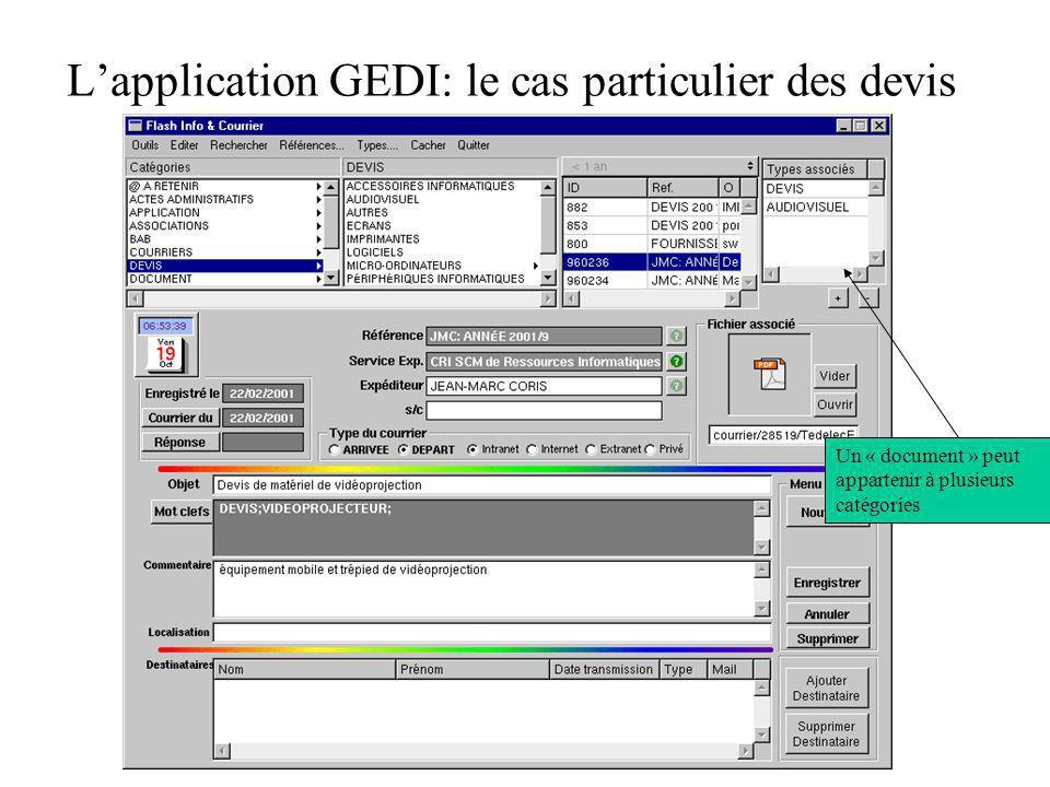 L'application GEDI: le cas particulier des devis