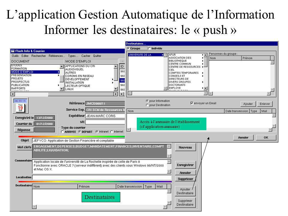 L'application Gestion Automatique de l'Information Informer les destinataires: le « push »