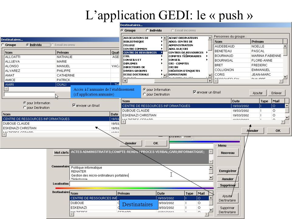 L'application GEDI: le « push »
