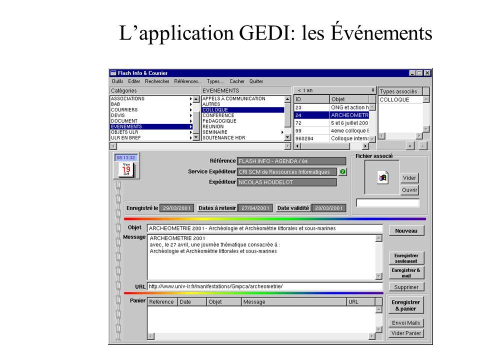 L'application GEDI: les Événements