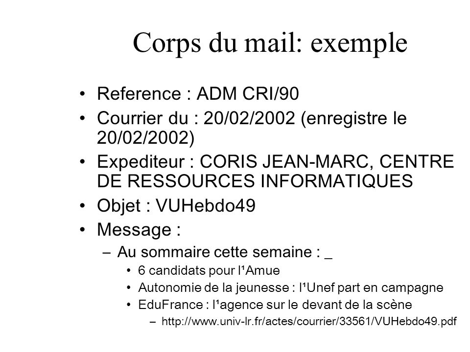 Corps du mail: exemple Reference : ADM CRI/90