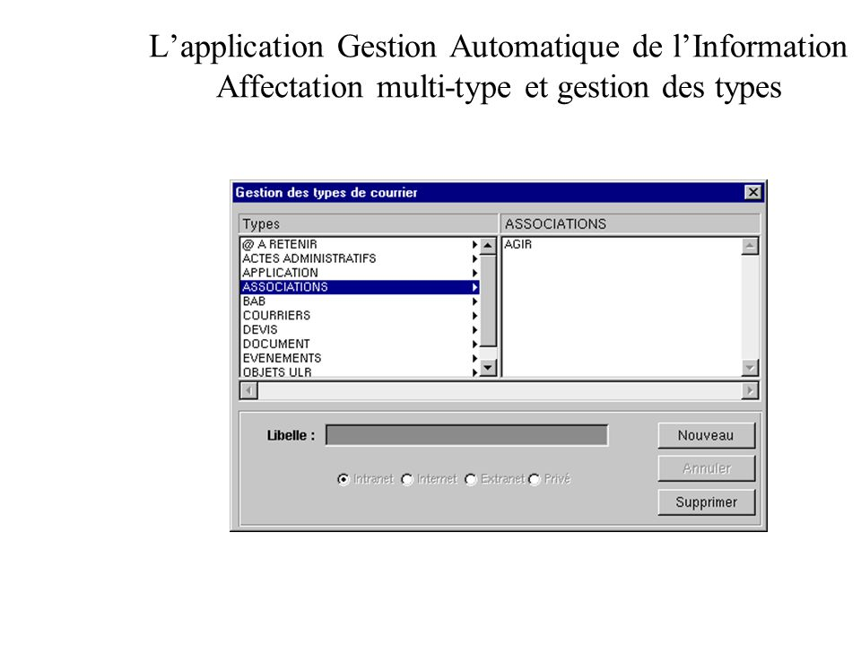 L'application Gestion Automatique de l'Information Affectation multi-type et gestion des types