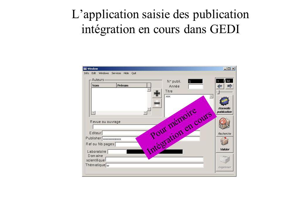 L'application saisie des publication intégration en cours dans GEDI
