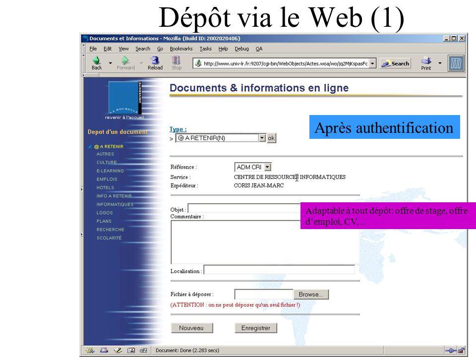 Dépôt via le Web (1) Après authentification