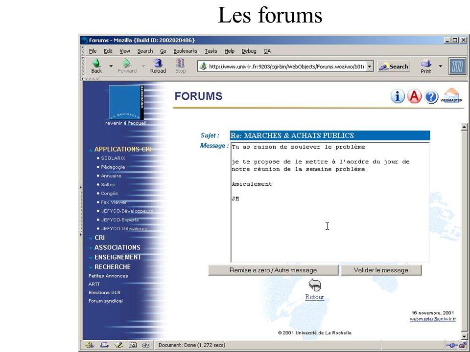 Les forums MAJ