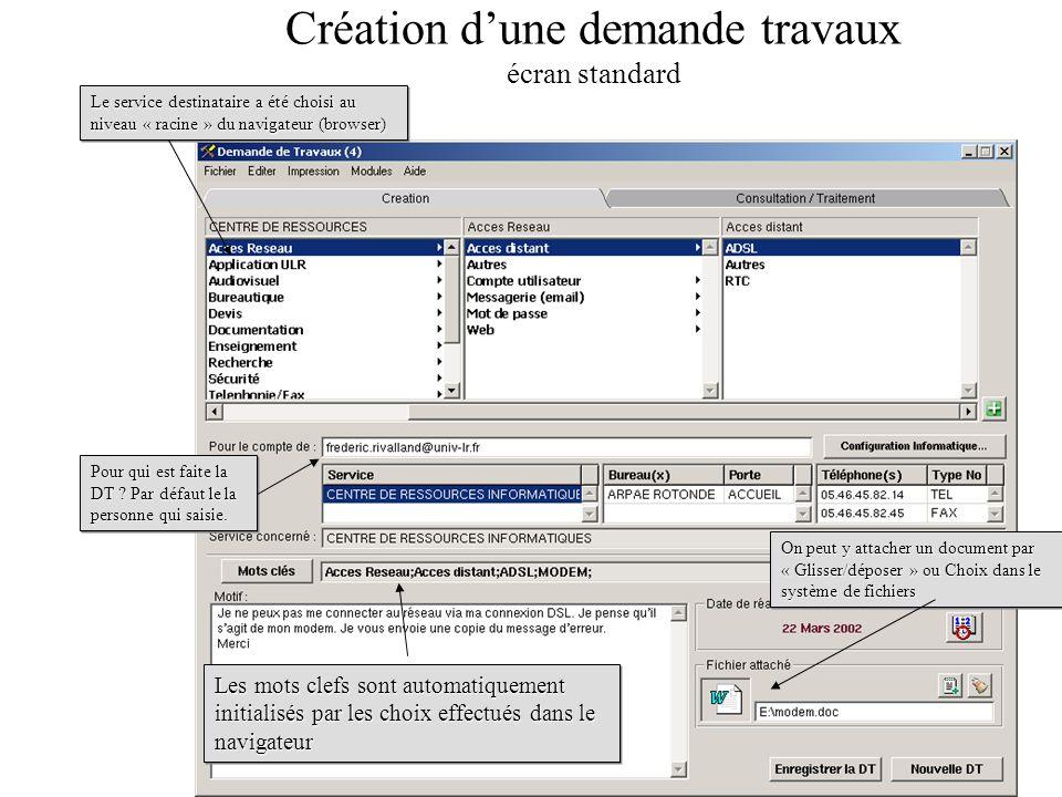 Création d'une demande travaux écran standard