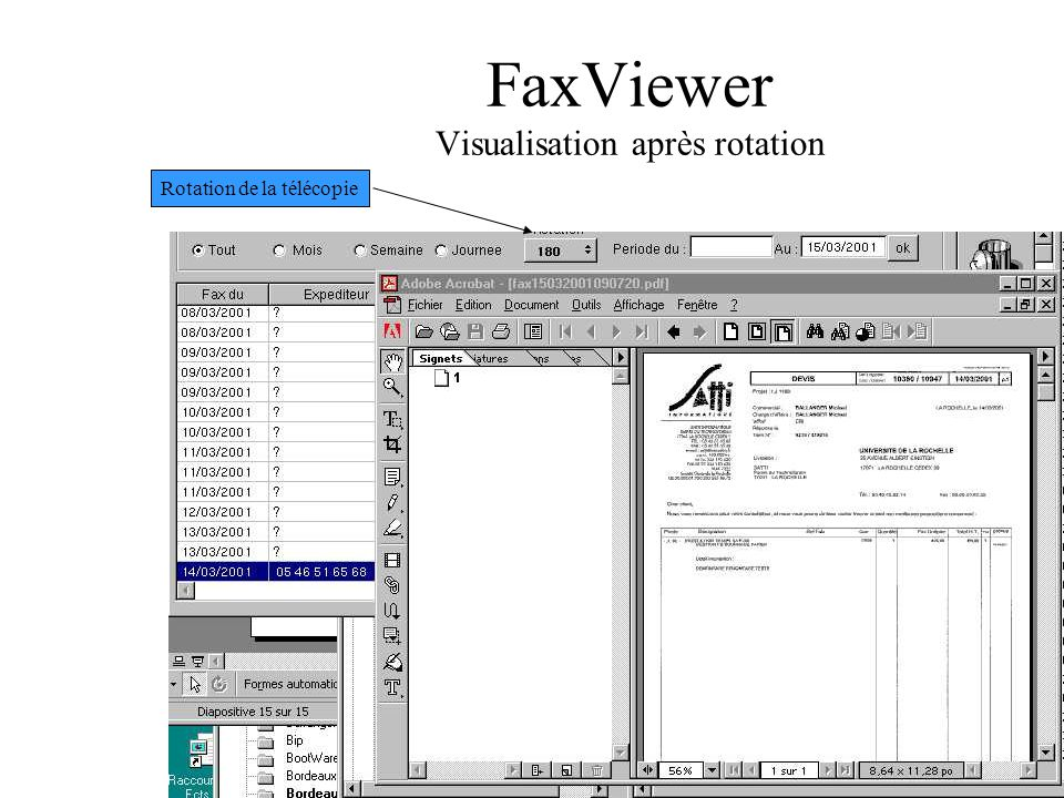 FaxViewer Visualisation après rotation