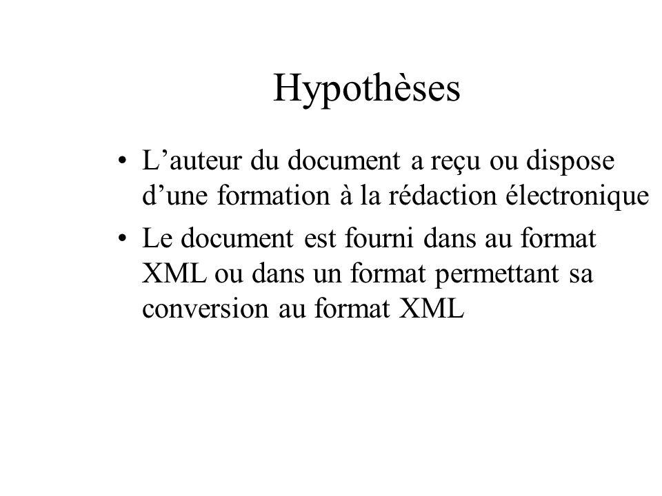 Hypothèses L'auteur du document a reçu ou dispose d'une formation à la rédaction électronique.