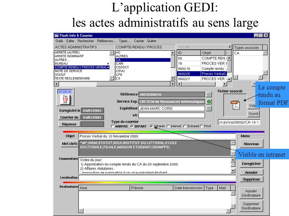 L'application GEDI: les actes administratifs au sens large