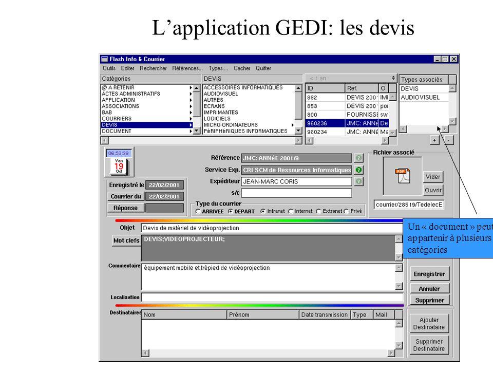 L'application GEDI: les devis