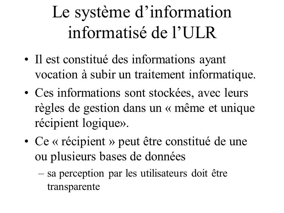 Le système d'information informatisé de l'ULR