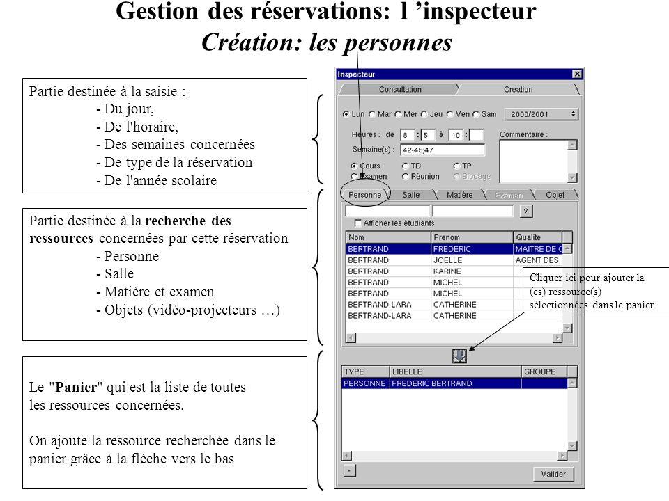 Gestion des réservations: l 'inspecteur Création: les personnes